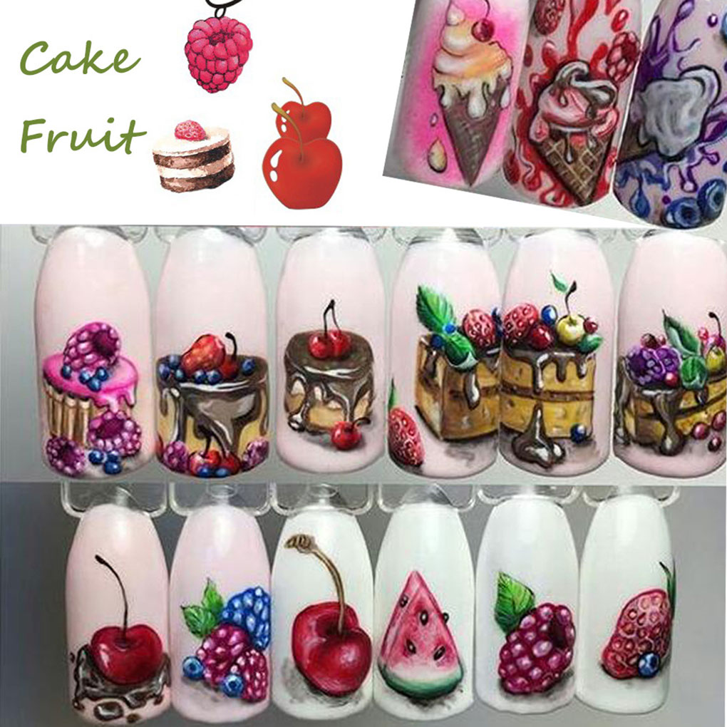 18 Sheets/Set Cake Ice Cream Nail Sticker Colorful Fruit Women Girls Nail Decal Wrap Manicure Decor