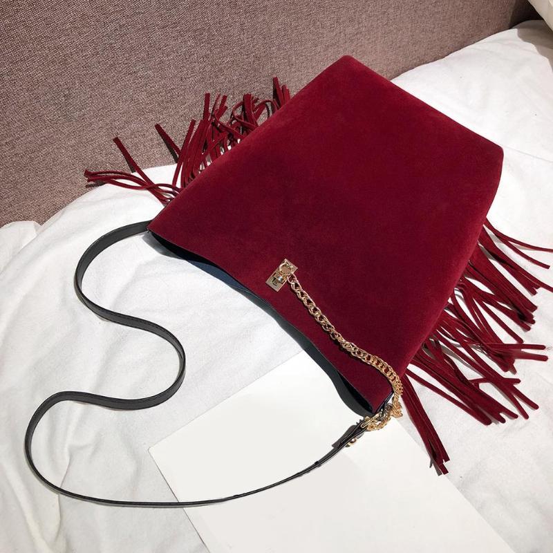 2Pcs/Set Retro Matte Leather Tassel Shoulder Satchel Handbags Women Clutch
