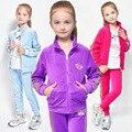 Roupas Meninas primavera Outono Zipper Crianças Jaqueta + Calça de Veludo Treino Para Meninas Esporte Terno Conjuntos de Vestuário Casual Crianças DQ192