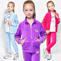 Spring Autumn Girls Clothes Zipper Kids Jacket+Pants Velvet Tracksuit For Girls Sport Suit Casual Children Clothing Sets DQ192