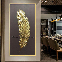 Newest 100% Hand painted abstract golden oil painting for living room feathers wall pictures on canvas