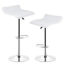 뜨거운 판매 2pcs 합성 가죽 조정 가능한 회전 막대 의자 의자 공압 헤비 듀티 카운터 펍 거실 가구 hwc