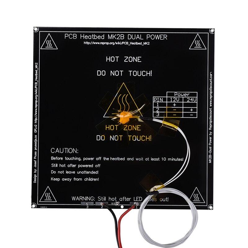 MK2B heatbed 214*214*2mm con LED y la resistencia y cable placa caliente Mendel MK2A PCB heatbed para 3D impresora
