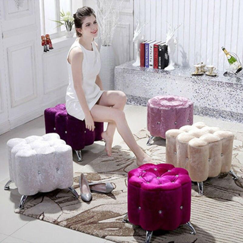 Silk Velvet Antique Stool Ottoman Footstool Living Room Furniture