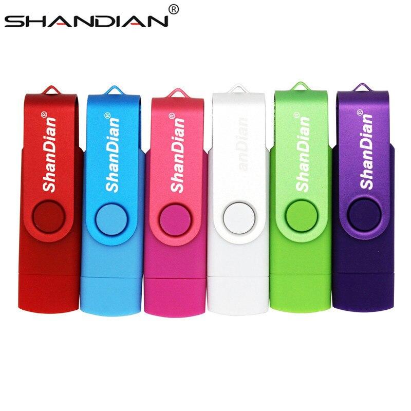 SHANDIAN Real Capacity USB Flash Drive 64G 8G OTG Pen Drive 32G 16G Micro Usb Smart Phone Thumb Pendrive Memory Stick Usb Stick