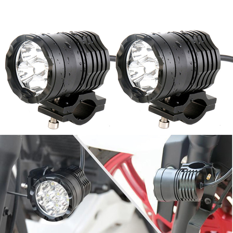 FADUIES 2Pcs Motorcycle Auxiliary Lamp Driving Spot Head Lamp Fog Light Motor Accessories 6000K White 12V