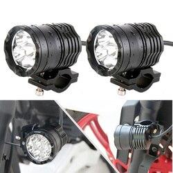 Faduies 2 pçs motocicleta auxiliar lâmpada de condução do ponto cabeça luz nevoeiro acessórios do motor 6000 k branco 12 v