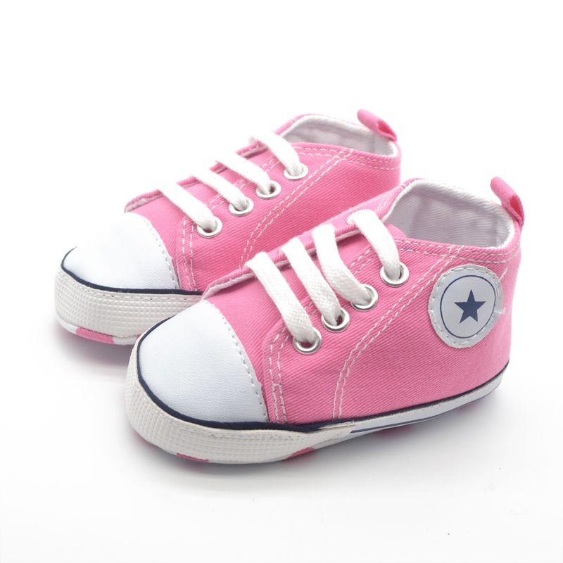 Fashion Infant Tollder Canvas Crib Shoes Baby Boys Girls Sneaker Prewalker 0-18M LL9 X5