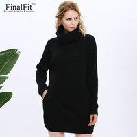 FinalFit Wool Turtleneck Knitted Sweater Dress Women Long Sleeve Loose Pocket Casual Dress