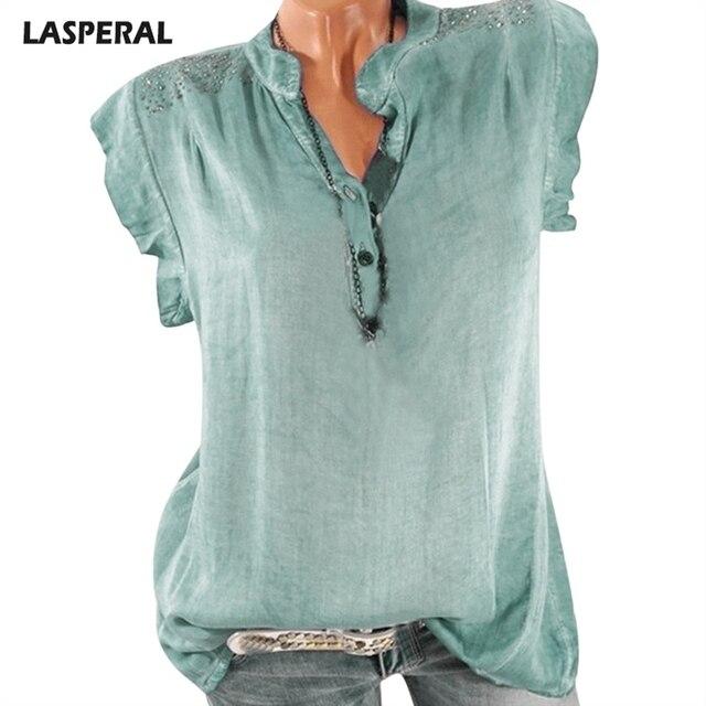 LASPERAL летние блузки Женская мода Топы однотонная Повседневная Блузка с короткими рукавами 2018 мода плюс размер летняя рубашка Прямая доставка