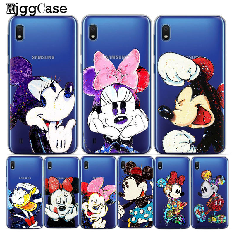 cute Minnie mickey Silicone Case For Coque Samsung Galaxy A10 A30 A50 Back Cover For Samsung A10 A20 A30 A40 A50 A70 Stitch Case iphone xr case magnetic