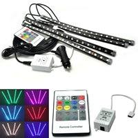 1set Wireless Music Sensor Cntrol RGB 8 Color LED Car Interior Strip Lighting Bar Set