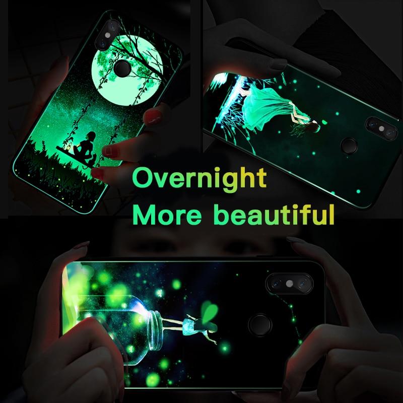 Image 5 - Moonlight Girl Luminous Glass Phone Case For Xiaomi Mi 8 9 SE Lite Redmi Note 4X 5 6 7 8 Pro Plus Luxury Starry Sky Cover Coque