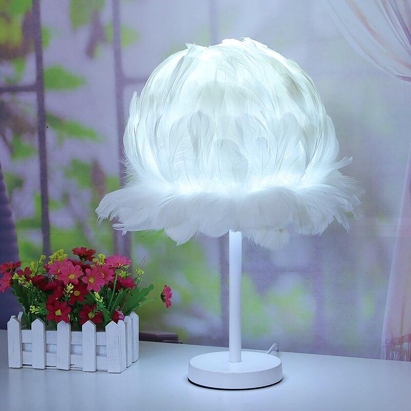 Свадебные перо Настольная лампа гостиная якорь «Птичье гнездо» прикроватная тумбочка для спальни цветок Настольный светильник перо лампы ...