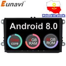 Eunavi 2 Din 9 »Android 8,0 4G Оперативная память автомобилей Радио Стерео gps Navi для VW Passat B6 cc Polo Гольф 5 6 Touran Jetta Tiguan Magotan сиденье