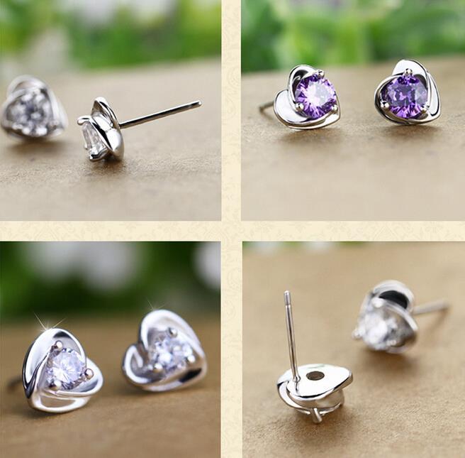 wholesale Fashion jewelry Natural AAA Zircon sterling 925 silver earrings YS32