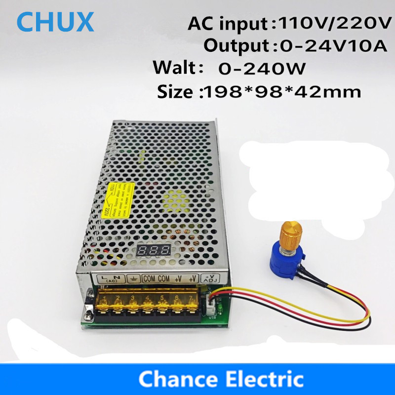 цена на Digital Display External Connection 0-24V 10A LED Adjustable Switching Power Supply 240W DC 0-24V