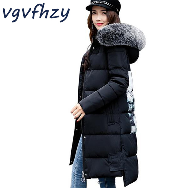 Winter Jacket Women 2017 New Big Fur Hooded Printed Thick Slim ...