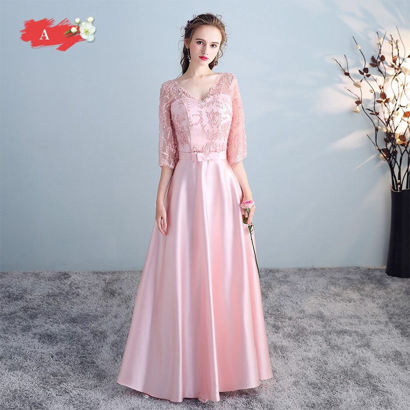 Mingli Tengda Pink Vintage V Neck Satin Bridesmaid Dresses 2018 Lace 1/2 Sleeves Lace Up Wedding Party Dresses Vestido Madrinha