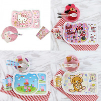 4pcs / set Baby Feeding Set with Bowl Plate Forks Spoon Cup Melamine Set Bamboo Fiber Children's Tableware Free Shipping