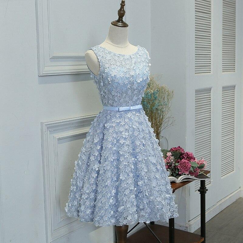 Bleu ciel encolure dégagée fleur dentelle courte Robe De soirée perles plis robes De soirée courtes bal robes De soirée robes De fête Vestidos De Festa