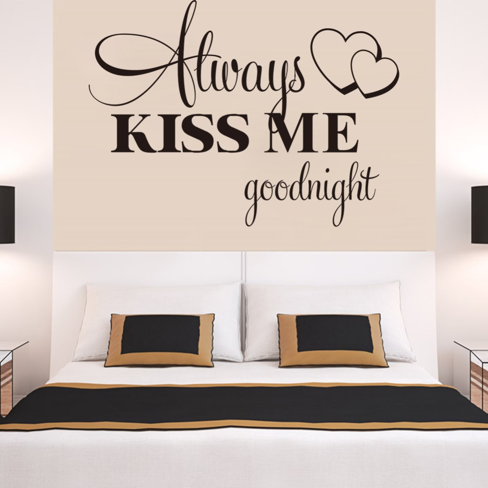 Bedroom wall art quotes - Boutique Always Kiss Me Good Night Quote Bedroom Decals Removable Waterproofing Home Wall Sticker Zt8232