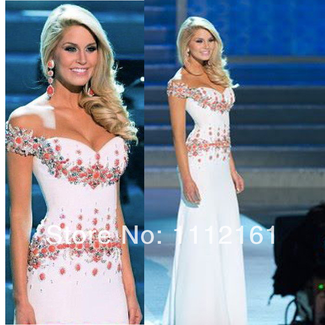2014 Miss USA Mermaid Satin Prom Dresses with Off Shoulder Appliques ...