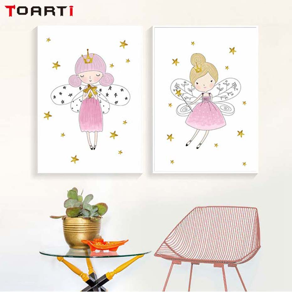 Modern Cartoon Crown Pink Girl Canvas Painting Nordic Poster Kids Decoration Scandinavian Wall Picture Home Baby Girl Room Decor