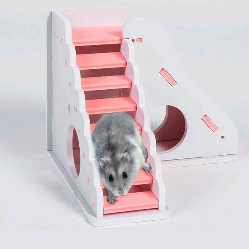 솔리드 우드 햄스터 슬라이드 계단 기니 돼지 집 빨 래트 하우스 케이지 애완 동물 게임 햄스터 장난감 하우스 햄스터 액세서리 zg0011