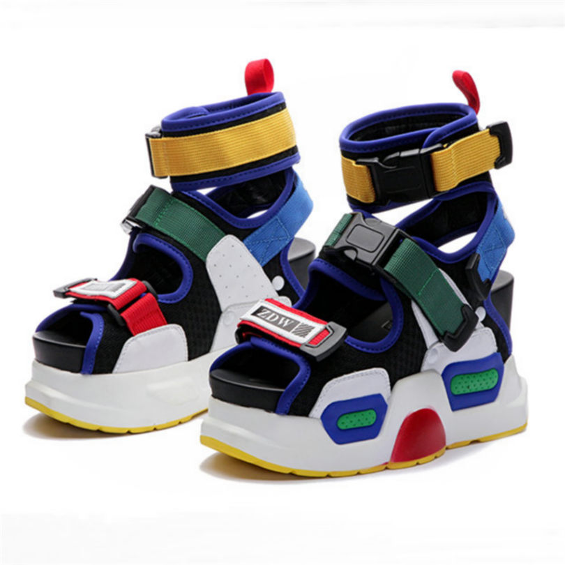 NAYIDUYUN  Summer Sandals Shoes Women Leather Platform Wedges High Heel Gladiator Rhinestone Sneakers Trainers