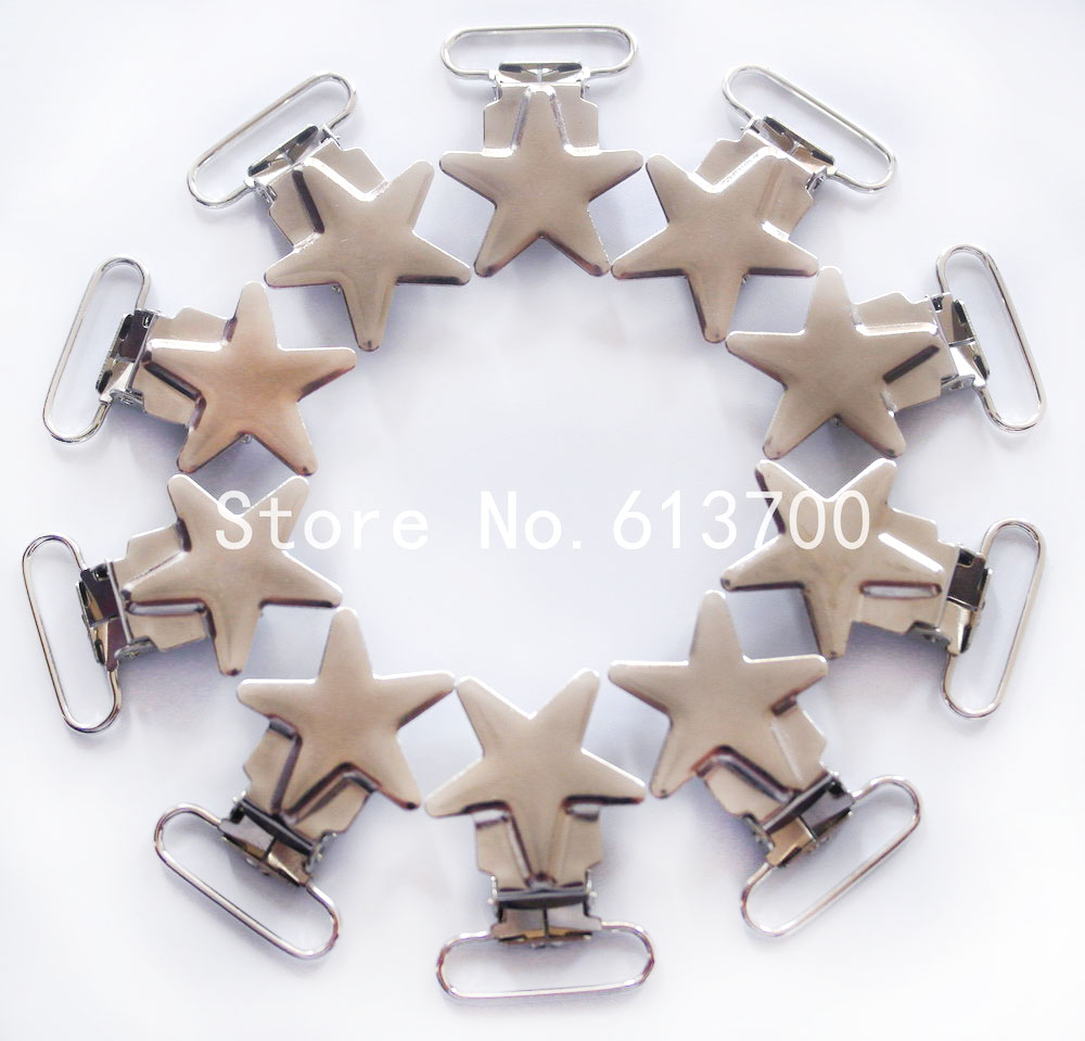 Free Shipping 20 Pcs 1'' 25mm Silver Colored Star Shaped Baby Pacifier Clips \ Suspender Clip Rack Plating