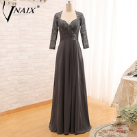 Vnaix M1004 Long Sleeves with LAce Chiffon Floor Length Grey Mother Of The Bride Dresses Evening Gown Plus Size