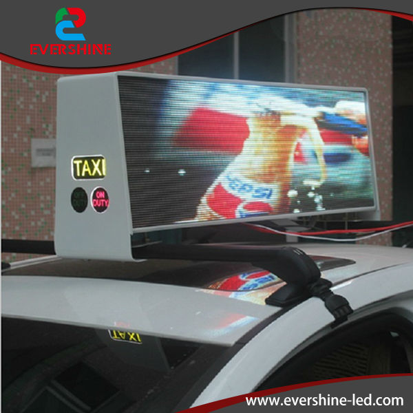 Táxi publicidade top solar do diodo emissor de vídeo em movimento placa de exposição mensagem
