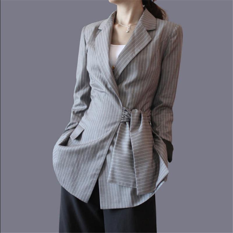 Streifen Frauen Blazer Und Jacken Unregelmäßigen Streifen Langen - Damenbekleidung