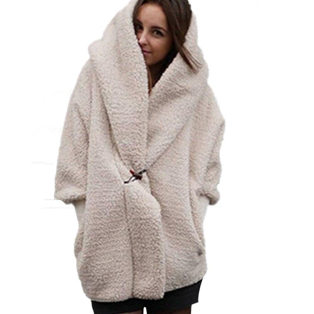 Long Sleeve Faux Fur Coat Women Flurry Hooded Jackets -1828