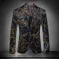 Nueva llegada de la alta calidad de impresión de terciopelo chaqueta masculina delgado traje de otoño invierno vestido formal de la manera tamaño de la capa Ml XL XXL XXXL
