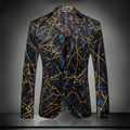 new arrival high quality print velvet jacket male slim suit autumn winter fashion formal dress coat size M L XL XXL XXXL