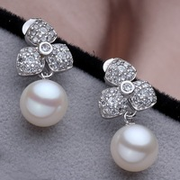 Romantic 2014 Fashion Design Rhinestone Sterling Silver 925 Flower 100 Natural Cultured Fresh Water Round Pearl