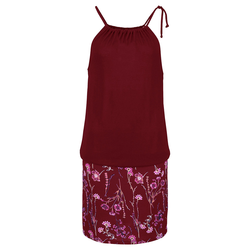 Женское платье Лето модные женские платья повседневные без рукавов Ретро Холтер принт пляжное мини платье пляжное платье