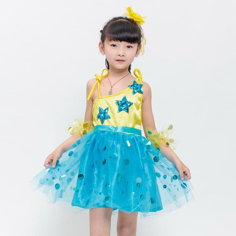 2018 NEW Children Hight Dance Costume Latin Modern Jazz Sequined Skirt Dress Catwalk Show David Kindergarten