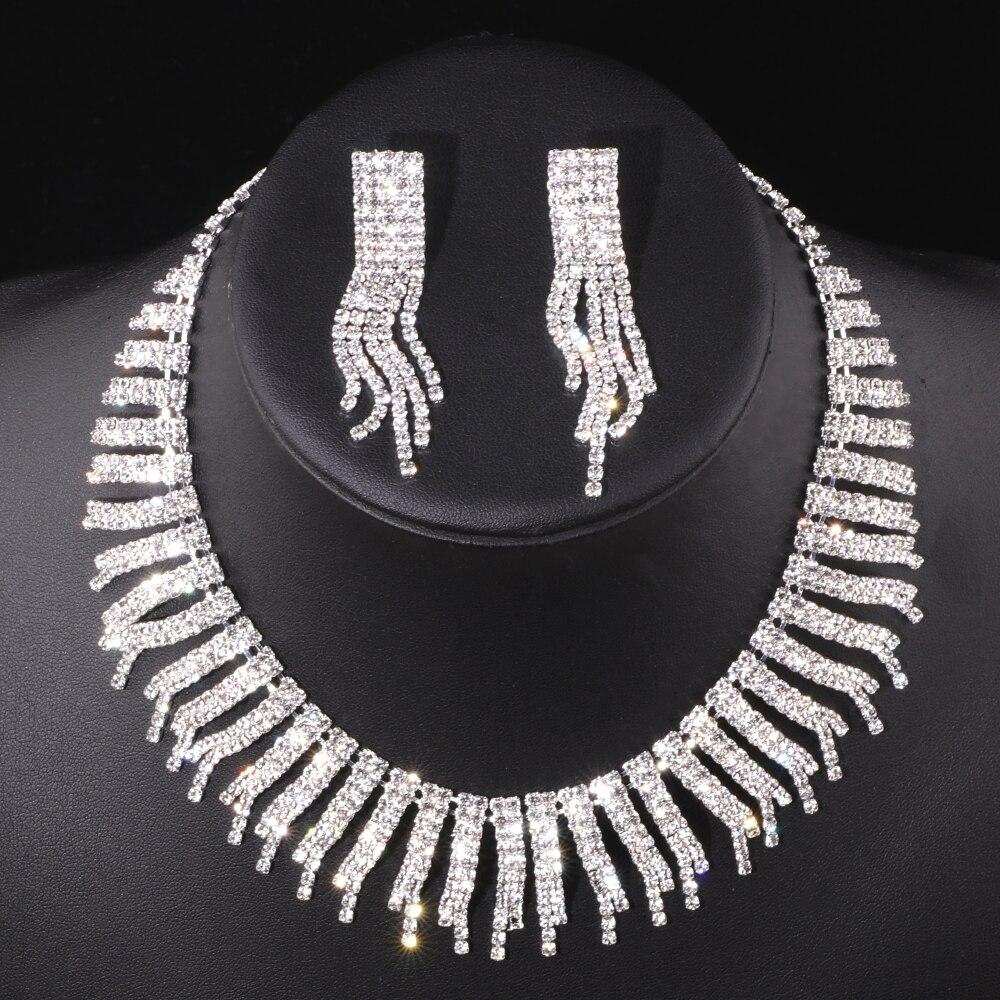Luxuriöse Kristall Schmuck Sets Silber Farbe Braut Schmuck Sets Säule Form Hochzeit Drop Halskette Ohrringe Sets Schmuck Tz001 Schmuck & Zubehör