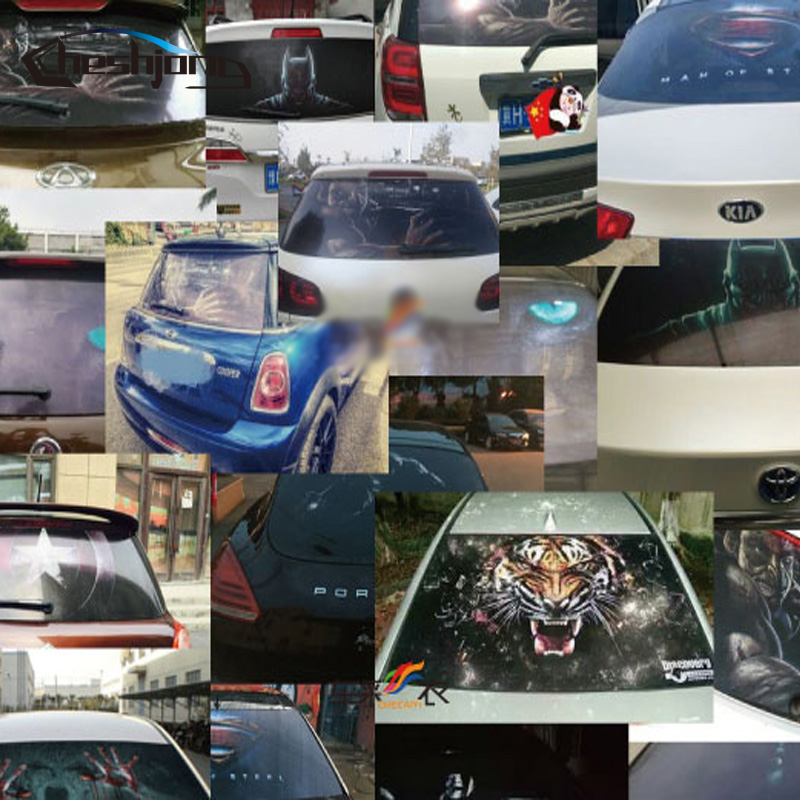 Image 2 - New Arrival Car Rear Window Film Car Rear Windshield Tint One Way Vision Printed Mesh Film-in Car Stickers from Automobiles & Motorcycles