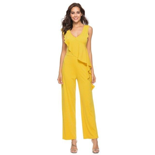 b61558ab120d Women ruffle jumpsuit long summer sleeveless casual big size neck jpg  640x640 Long summer rompers