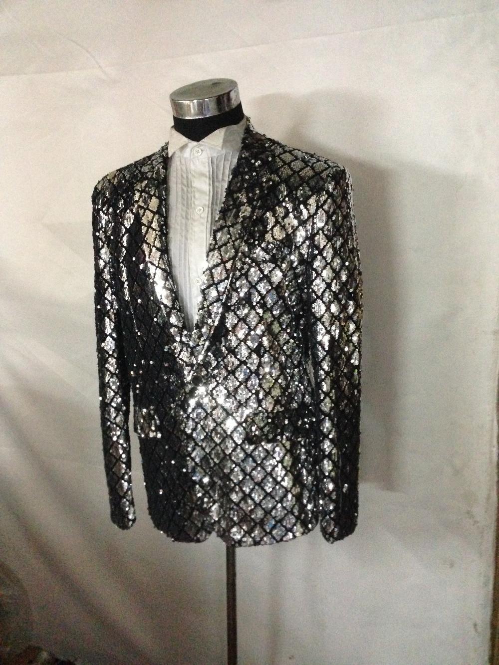 Customized New Fashion Men Black Plaid Blazers Sequined Suit Studio Dress Nightclub Bar Singer Host Stage Performance Jacket