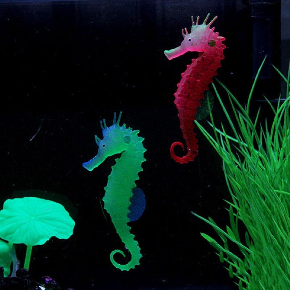 US Aquarium Decor Silicone Seahorse Aquarium Fish Tank Ornament Glowing Effect