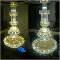 Royal Empire Golden Crystal Chandeliers Duplex Villa Staircase Crystal Chandelier Crystal Large Modern Long Hanging Lamp