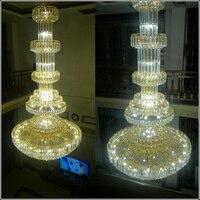 Royal Empire Golden Crystal Chandeliers Duplex Villa Staircase Crystal Chandelier Crystal Large Modern Long Hanging Lamp