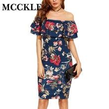 MCCKLE 2017 Elegant Woman Short Sleeve Multicolor Floral Print Off The Shoulder Ruffle Sheath Dresses summer beach dress