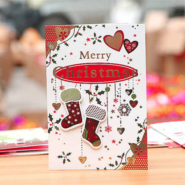 16pcs Christmas Cards Greeting Card 3d Card Postcards Gift Xmas Noel