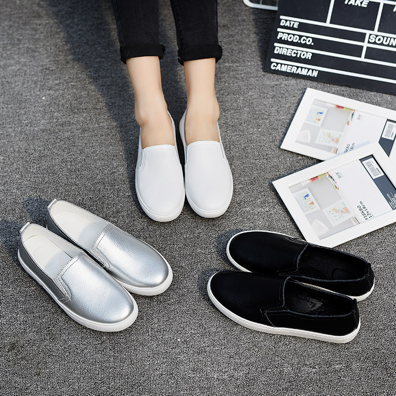 Spring White Shoes Women Casual Shoes Loafers Solid Color Black Sliver Slip-On Flats Women Students   Leather   Shoes Back